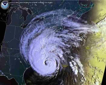 NOAA  image of Isabel's landfall east coast, right on top of us!