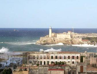 Havana port in a storm, the spray was over fifty feet high